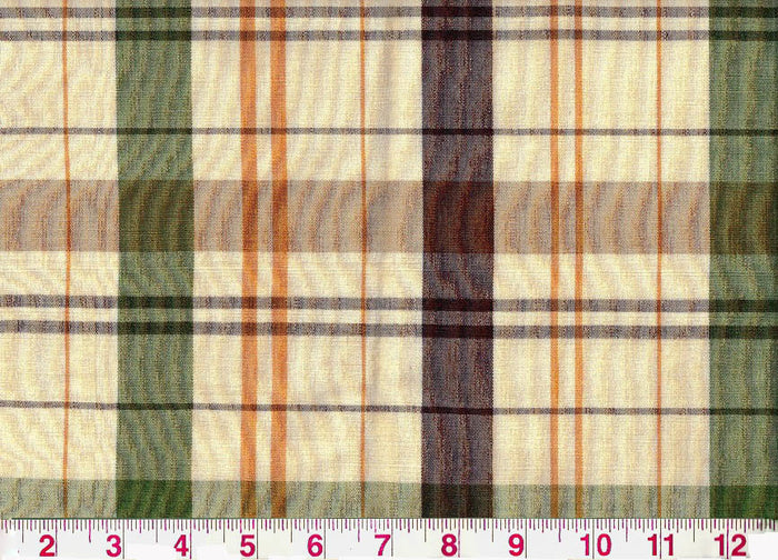 Caxton Check CL Brown - Green Upholstery Fabric by Clarence House