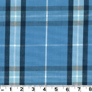 Harrison Plaid CL Lake Upholstery Fabric by Roth & Tompkins
