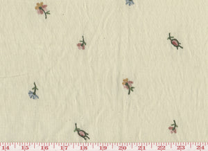 Rosebud Floral CL Multi on Beige Embroidered Drapery Fabric by Roth Fabric
