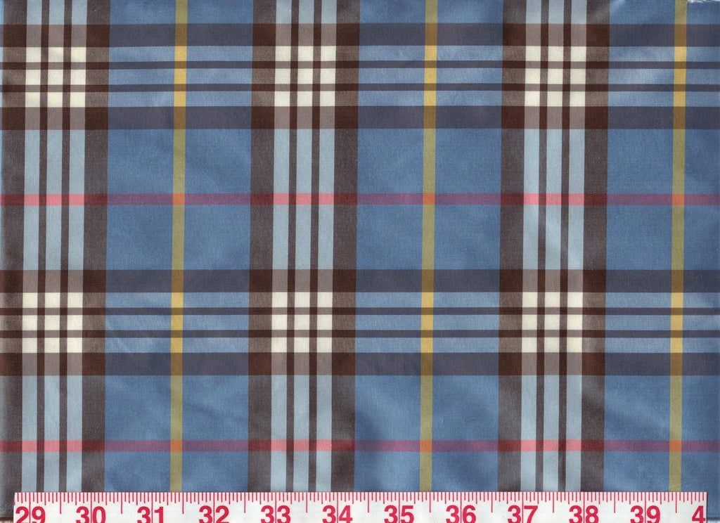 Palm Beach Plaid CL  Cornflower Drapery Fabric by American Silk Mills