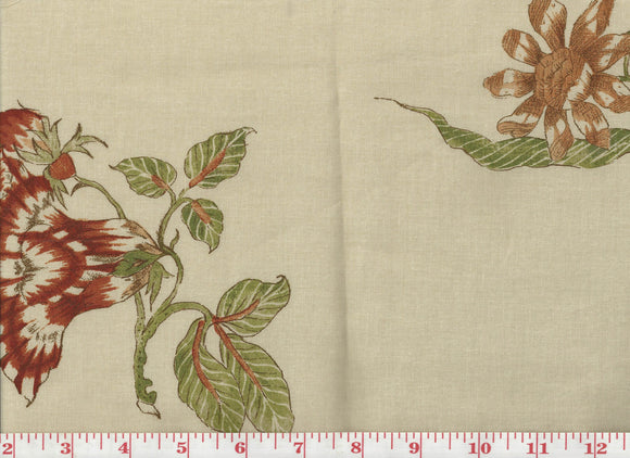 Lady Mountbatten CL Rust - Fern Drapery Fabric by Clarence House