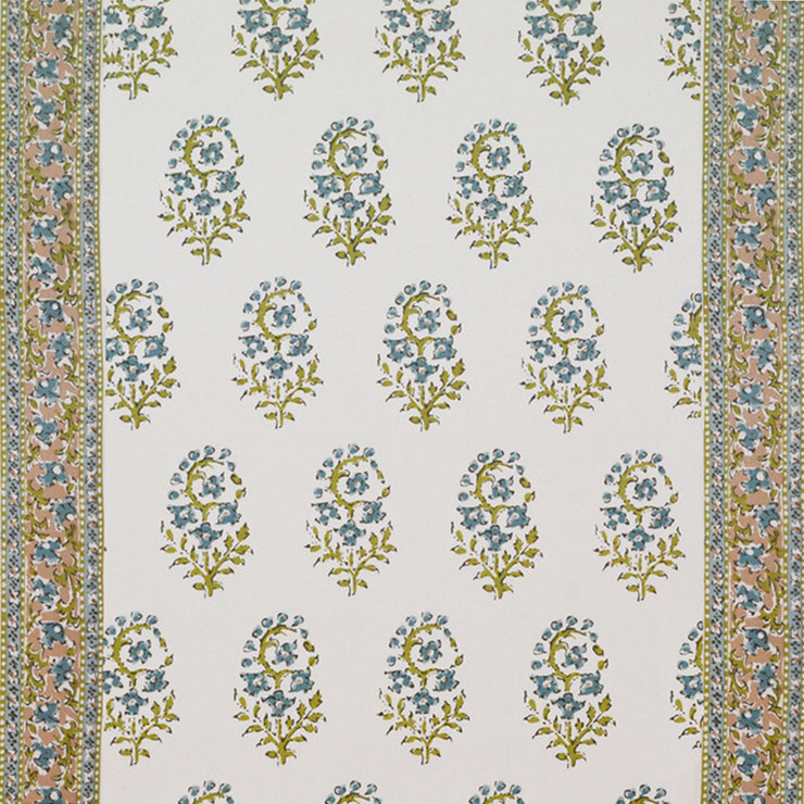 Fleur de Kashmir CL Turquoise Drapery Fabric by Hill Brown