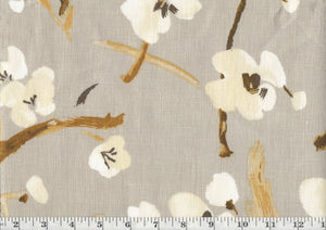 Blossom Festival CL Pewter Drapery Upholstery Fabric by P Kaufmann