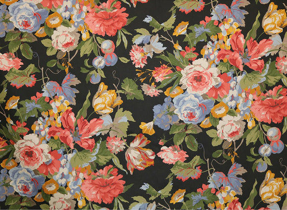 Centerpiece Floral CL Licorice Drapery Upholstery Fabric by  P Kaufmann