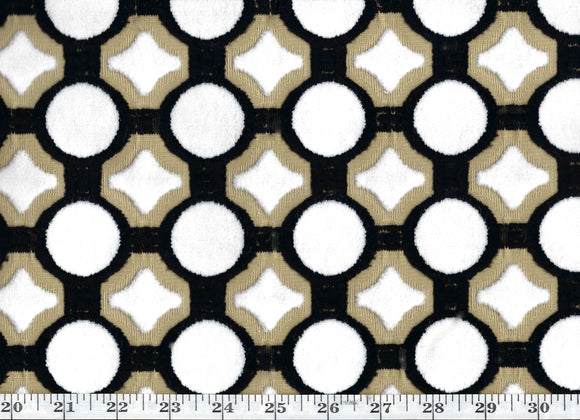 Debussy CL Black - Tan Velvet Upholstery Fabric by DeLeo Textiles