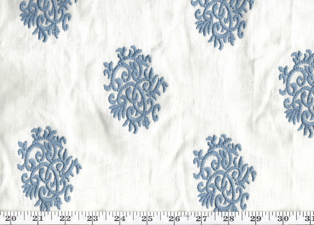 Delphine Embroidery CL Chambray Drapery Fabric by Ralph Lauren