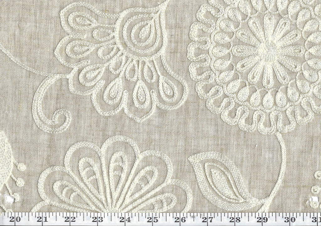 Fiona CL Linen Embroidered Sheer Drapery Fabric by P Kaufmann