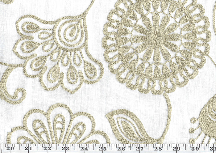 Fiona CL Tumble Weed Embroidered Sheer Drapery Fabric by P Kaufmann