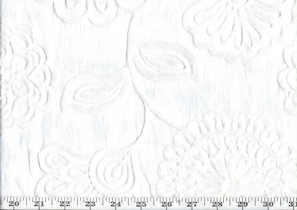 Fiona CL Winter White Embroidered Sheer Drapery Fabric by P Kaufmann