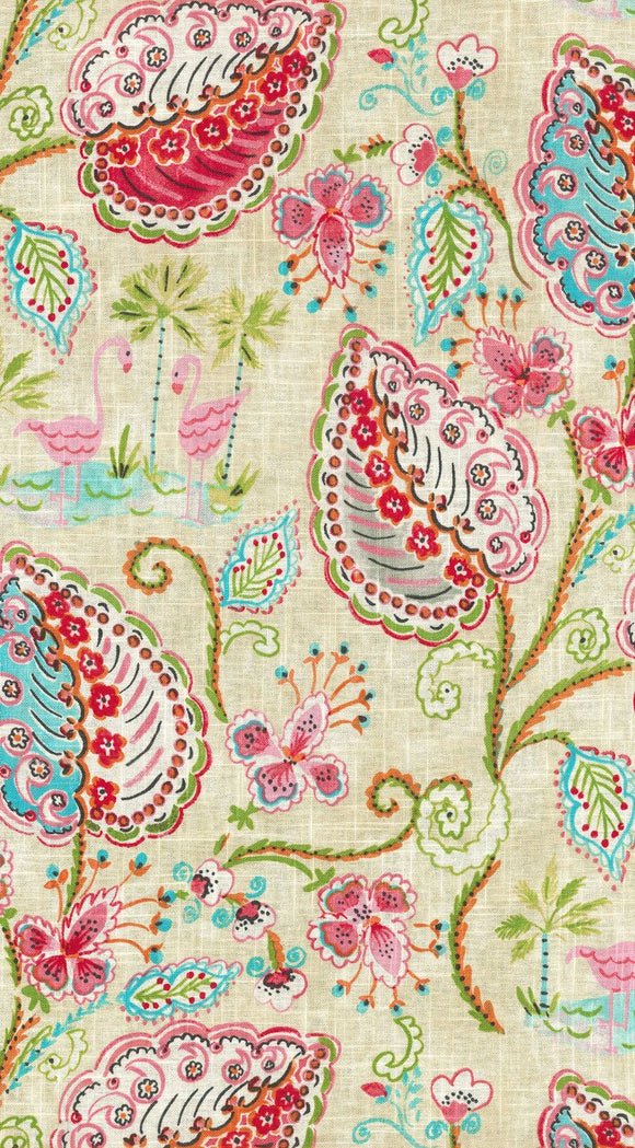 Flamingo Frolic CL Watermelon Drapery Upholstery Fabric by Dena Home and PK Lifestyles