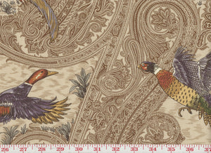 Game Birds CL Heritage Drapery Upholstery Fabric by P Kaufmann