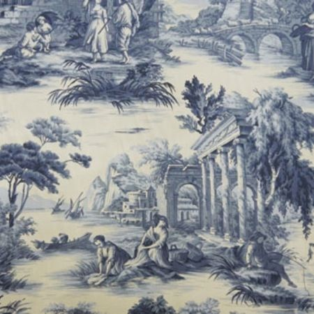 Grand Toile CL Delft Drapery Fabric by P Kaufmann