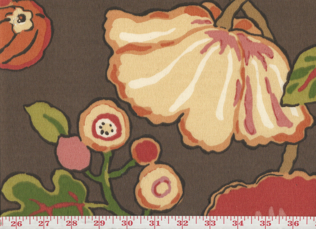 Hip Floral CL Chocolate Outdoor Upholstery Fabric by P Kaufmann