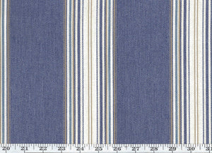 Hook Pond Stripe CL Denim Outdoor Drapery Upholstery Fabric by Ralph Lauren