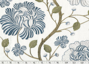 In Bloom CL Lakeland Embroidered Drapery Upholstery Fabric by P Kaufmann