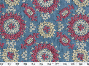 Layla Embroidery CL Denim Drapery Upholstery Fabric by Ralph Lauren