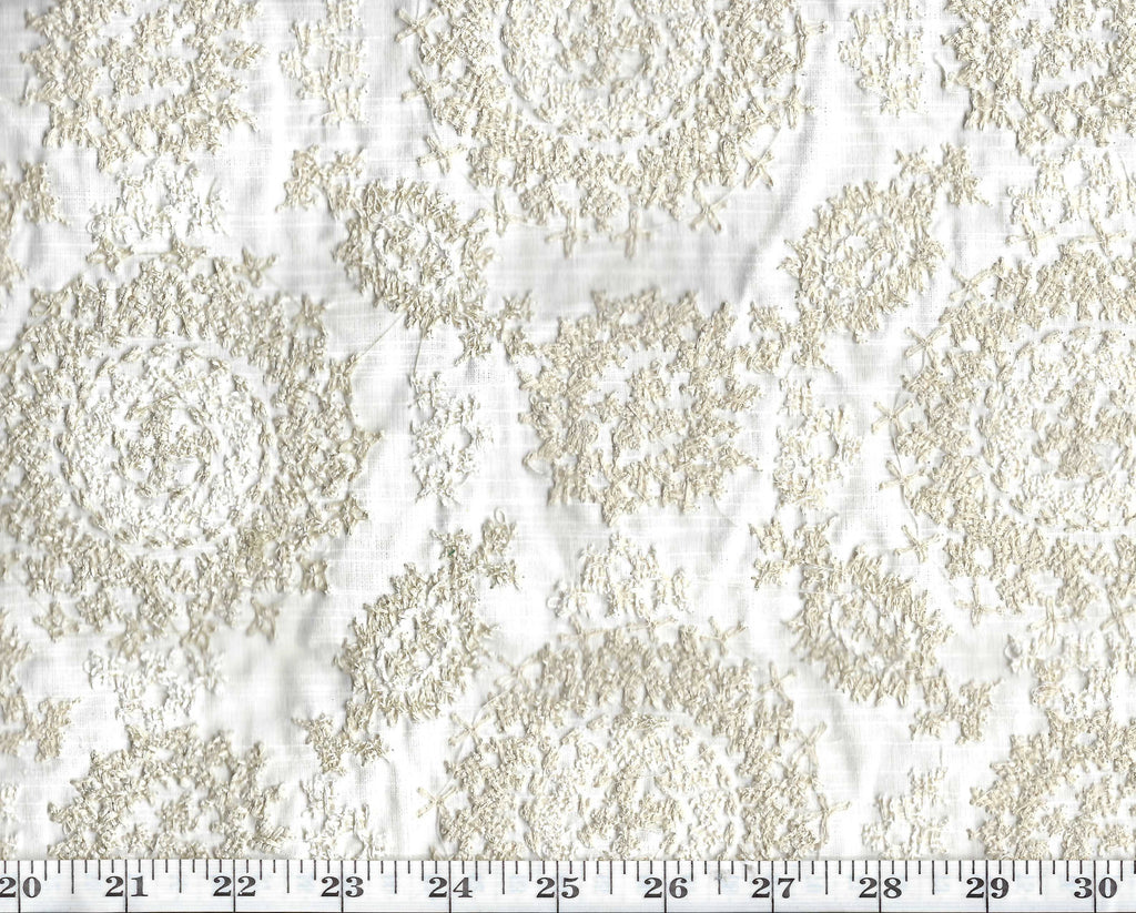 Layla Embroidery CL Oyster Drapery Upholstery Fabric by Ralph Lauren