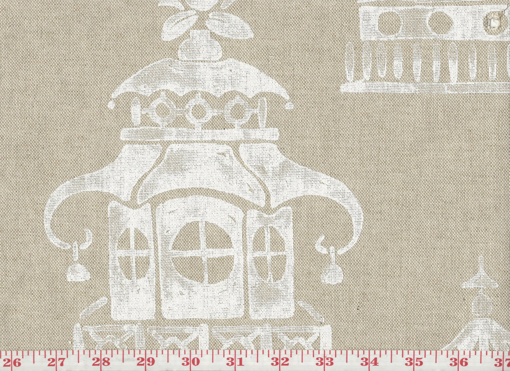 Ming Pagoda CL Natural Drapery Upholstery Fabric by P Kaufmann
