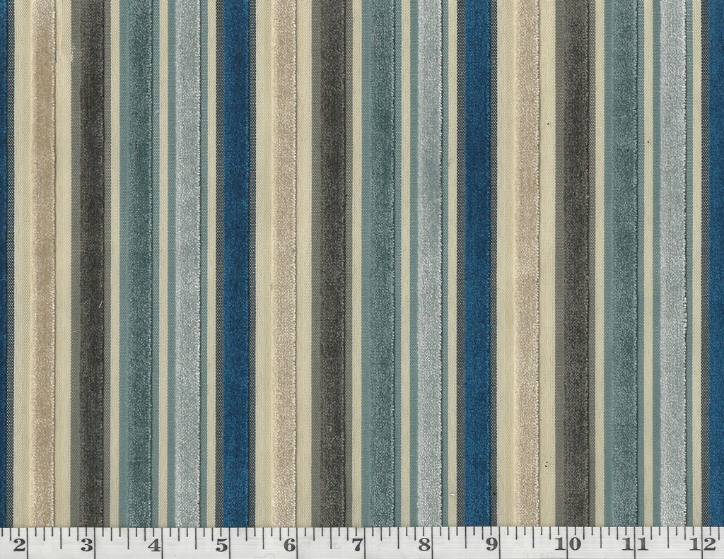 Myriad CL Blues Cut Velvet Upholstery Fabric by Golding Fabrics