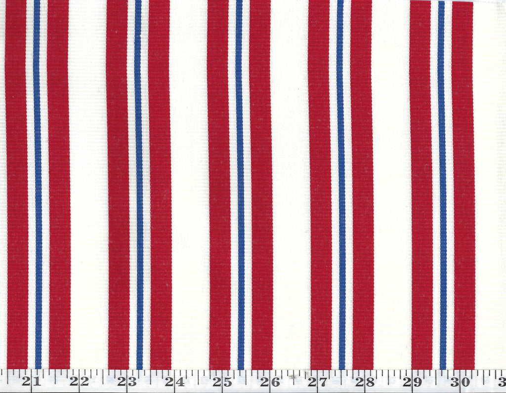 Neptune Stripe CL Admiral Red Outdoor Drapery Upholstery Fabric by Ralph Lauren