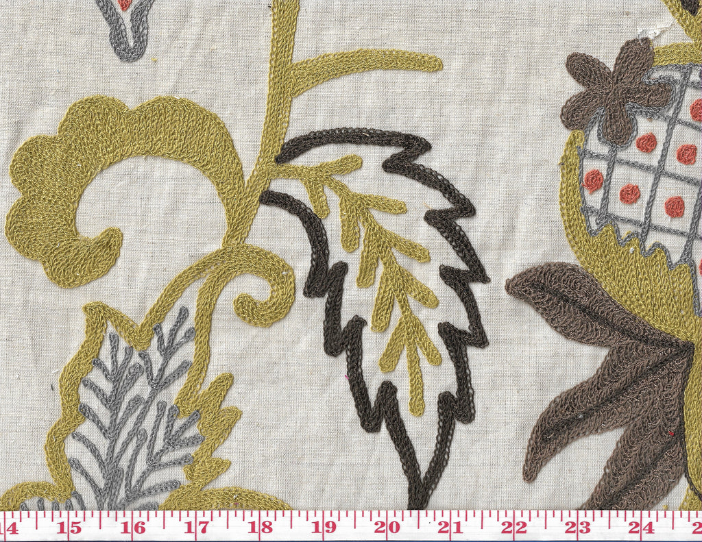 Pineapple Plantation CL Sugarcane Embroidered Drapery Upholstery Fabric by Braemore Textiles