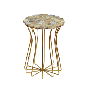 Estes Side Table CL Natural - Gold by Curated Kravet