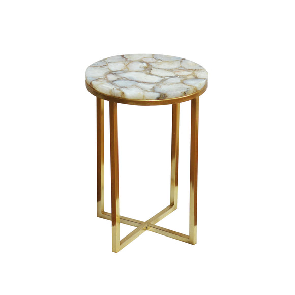 Salida Side Table CL White - Gold by Curated Kravet