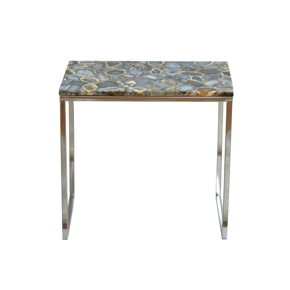 Arvada Side Table CL Black - Silver by Curated Kravet