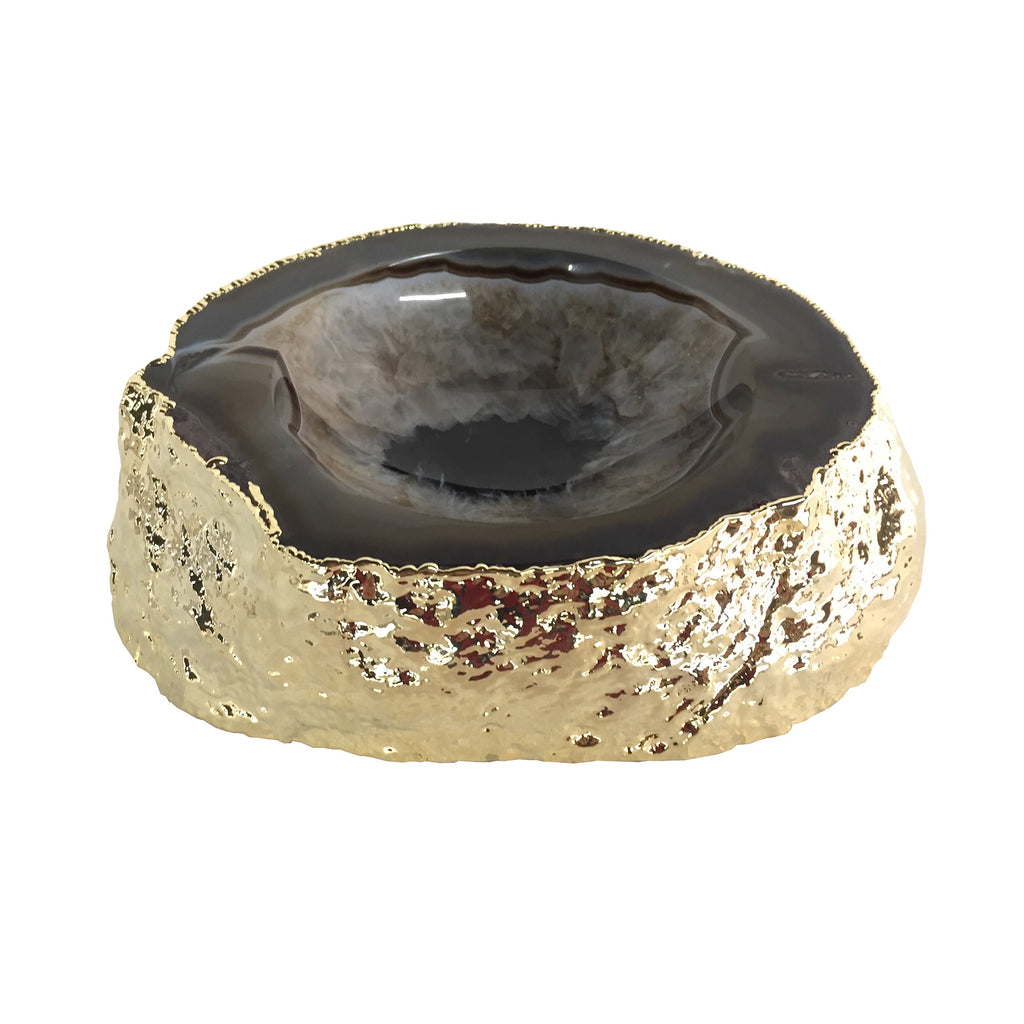 Noemi Polished Agate Bowl, Black/Gold