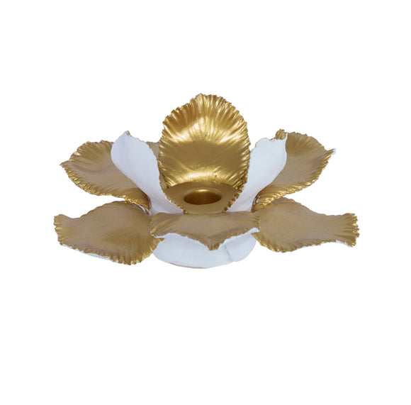 Thani Candleholder CL White - Gold by Curated Kravet