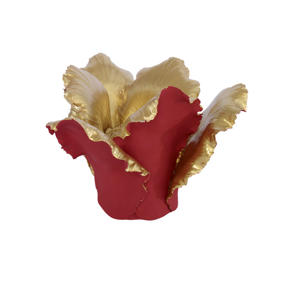 Pai Candleholder CL Red - Gold by Curated Kravet