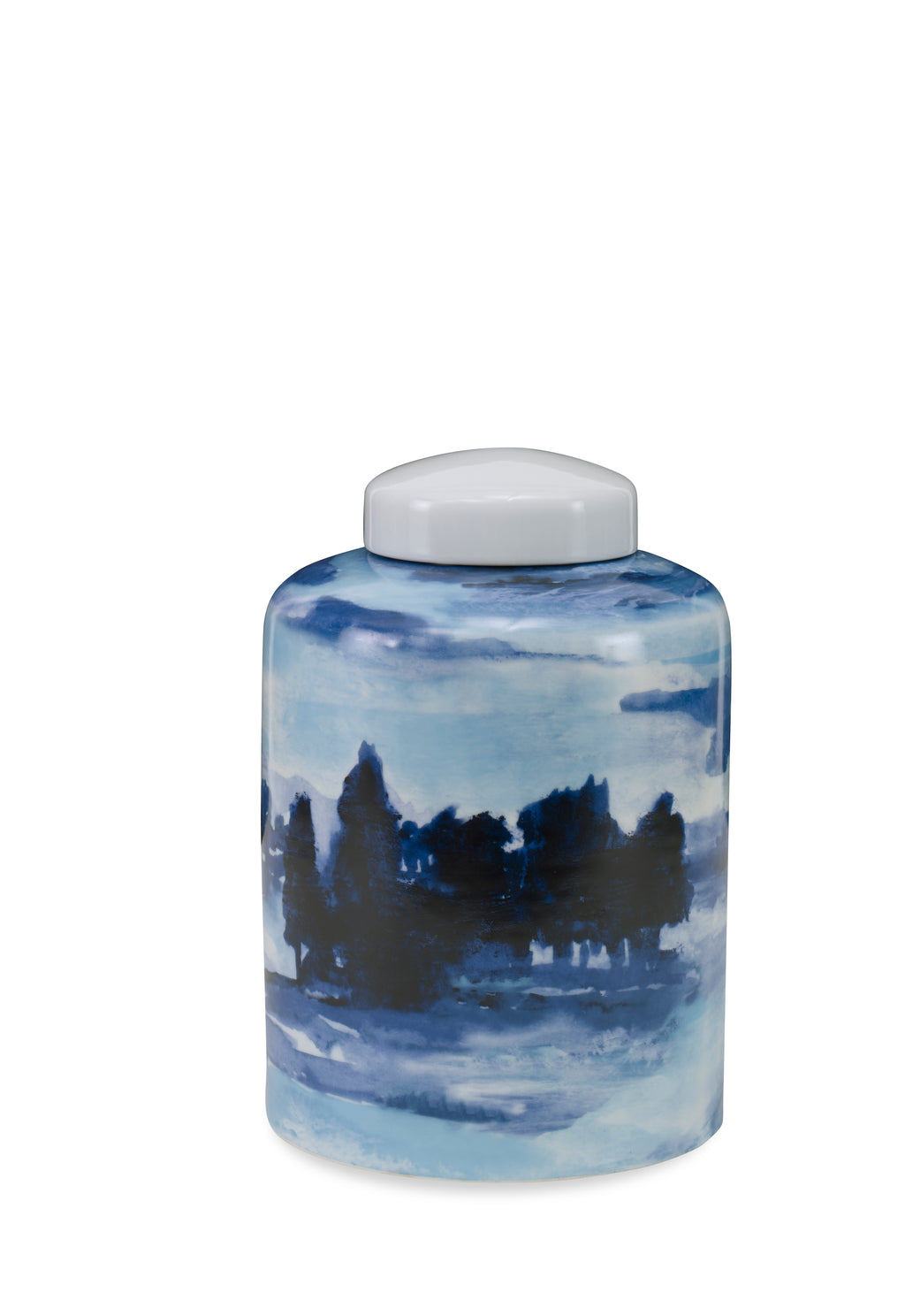 Sheila Lidded Jar, Small CL Blue - White