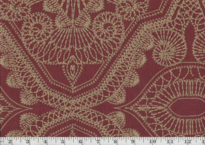 Sabar CL Crimson Embroidered Drapery Upholstery Fabric by P Kaufmann