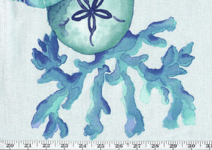 Sea Life CL Blue Drapery Upholstery Fabric by Golding Fabrics