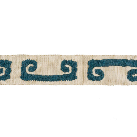 Wonky Key CL Teal Fabric Trim  by Kravet