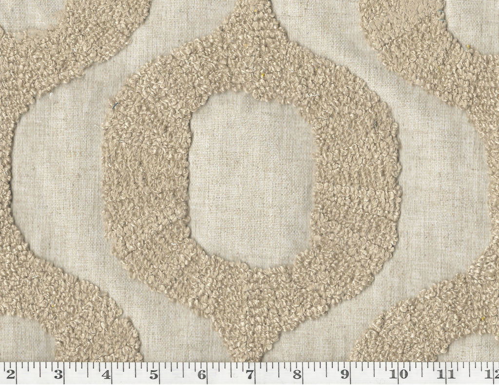 Top Knots CL Sand Embroidered Drapery Upholstery Fabric by P Kaufmann Fabrics