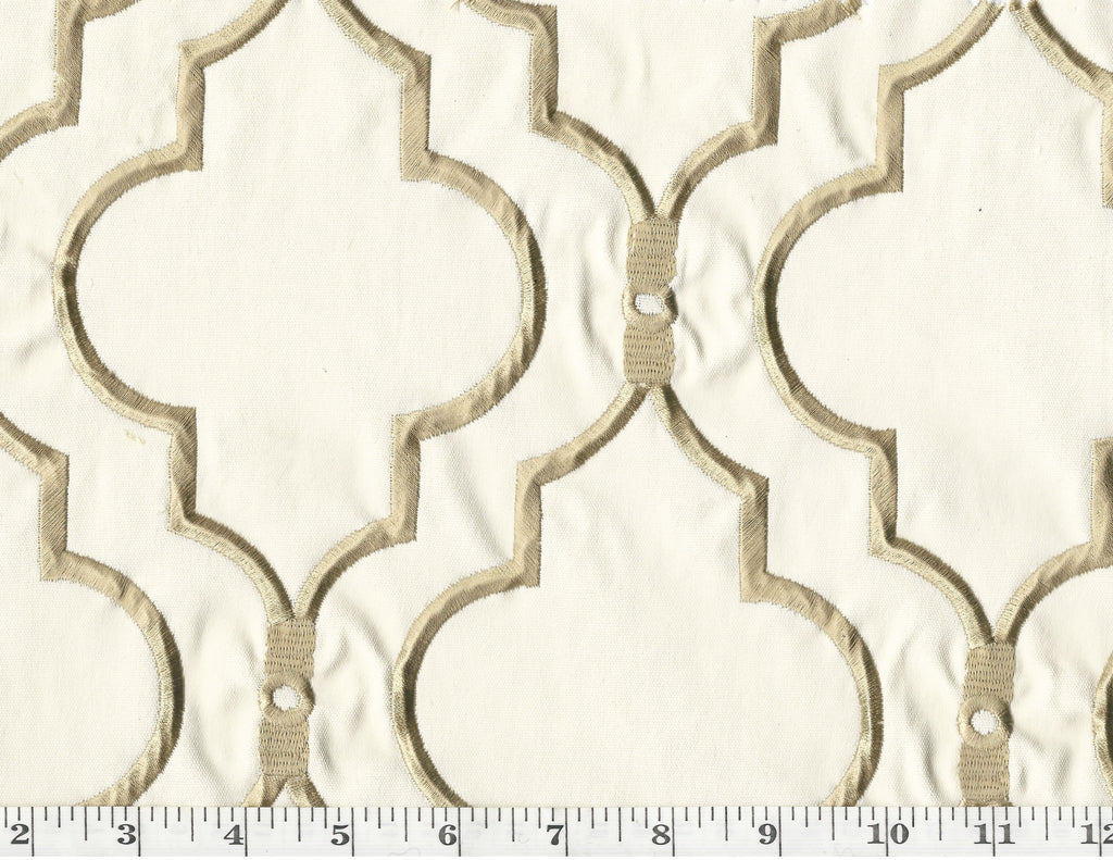 Upscale CL Tan Embroidered Drapery Upholstery Fabric by P Kaufmann Fabrics