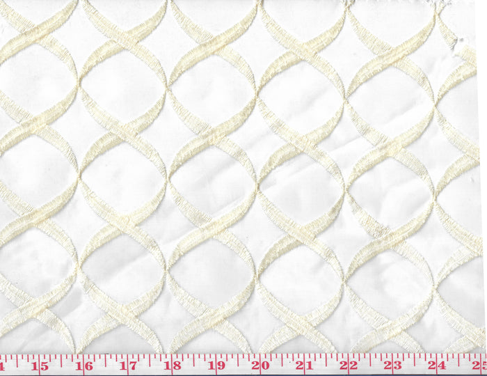 Ventura CL Cream Embroidered Sheer Drapery Fabric by Western Textiles