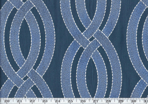 Winding Path CL Denim Drapery Upholstery Fabric by  P Kaufmann