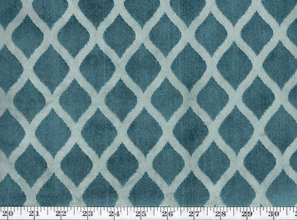 Zoe CL Teal Velvet Upholstery Fabric by DeLeo Textiles