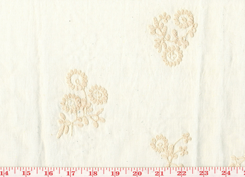 Blush Floral Embroidery on Cotton CL Blush - Ivory Drapery Table Top Apparel Fabric by Roth Fabrics