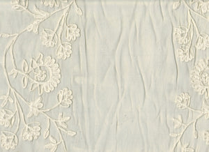 Embroidered Organdy Floral Stripes CL Ivory on Beige Sheer Drapery Fabric by Roth Fabric