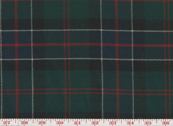 Tartan Plaid CL Green Red Black Wool Upholstery Fabric by Roth & Tompkins