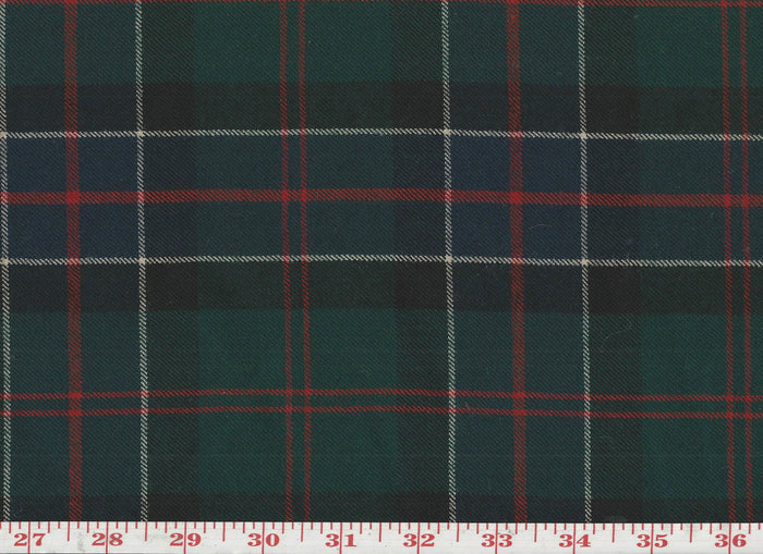 Tartan Plaid CL Green Red Black S-103 Wool Upholstery Fabric by Roth & Tompkins