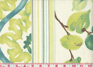 Bloom Stripe CL Teal Drapery Fabric by Braemore Textiles