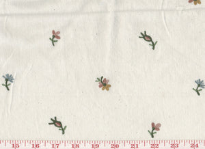 Rosebud Floral CL Multi on Ivory Embroidered Drapery Fabric by Roth Fabric
