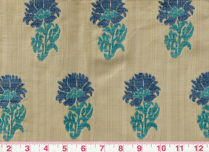 Lucknow CL Cobalt - Turquoise Upholstery Fabric by Hill Brown