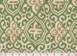Alhambra Handprint CL Grass Drapery Upholstery Fabric by Laura & Kiran