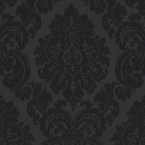 Albertine Damask CL Jet Drapery Upholstery Fabric by Ralph Lauren