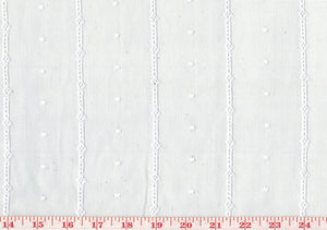 Dot and Stripe  CL White Eyelet Sheer Drapery Fabric by Roth Fabric